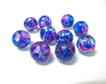 10 pearls, pink and Blue 10mm transparent glass
