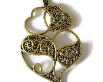 1 large heart motif pendant charm bronze 90x60mm