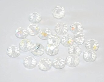 10 pearls clear Crystal iridescent has 6x8mm faceted rondelle