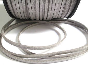 1 m silver appearance suede 3 mm suede cord