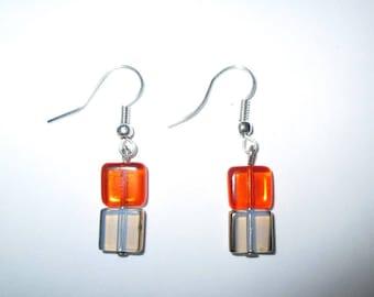 ღ Orange earrings created with elegant glass ღ beads / unique