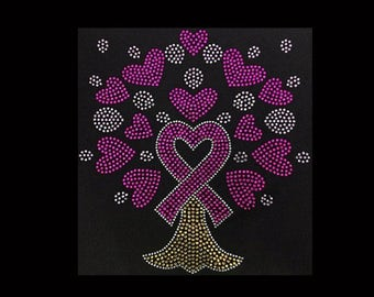 Ribbon Tree rhinestoneT-shirt ( 9.5x8.5)