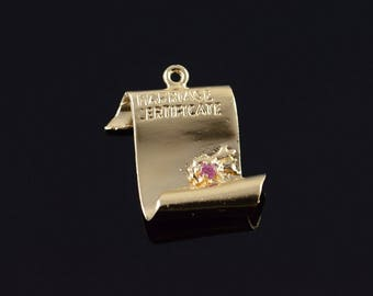 14k 1960's Retro Marriage Certificate Wedding Couple Charm/Pendant Gold