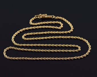 1.7mm Rope Link Chain Necklace Gold