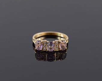 Amethyst Diamond Three Stone Channel Accent Ring Size 8.75 Gold