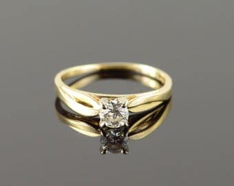 14k 0.38 CT Diamond Solitaire Engagement Ring Gold