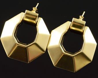 14k Hollow Circle Dangle Door Knocker Style Earrings Gold