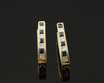14k 140 CTW Sapphire Diamond Channel Set Hoop Earrings Gold