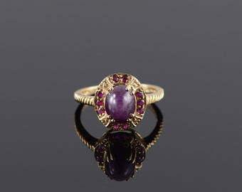 Star Ruby Oval Cabochon Halo Twist Textured Ring Size 8 Gold