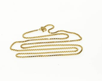 14k 1.2mm Squared Curb Link Chain Necklace Gold 27""