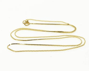 """14k 0.8mm Box Link Chain Fancy Necklace Gold 22.25"""""""