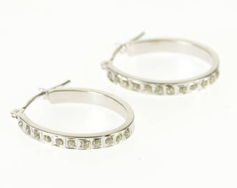 14k Resin Accented Square Edge Hollow Hoop Earrings Gold