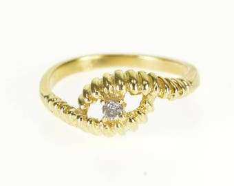 14k Diamond Inset Scalloped Wavy Wrap Bypass Ring Gold