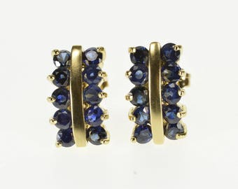 10k Sapphire Inset Curved Bar Post Back Earrings Gold