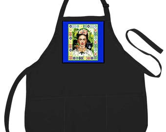 Frida Kahlo, or Mexican Blouses, Chef Art Apron, Choose Your Color,3 Pocket Apron,Frida Kahlo clothing,Gift for Women,Birthday Gift