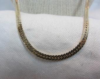 Vintage Krementz Herring Bone Gold Filled Chain Necklace