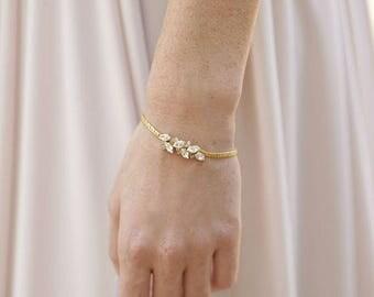 Gold Bridal Bracelet Swarovski Crystal Bracelet Bridesmaids Gold Bracelet Bridal Wedding Bracelet Bridesmaids Jewelry Clear Crystal Bracelet