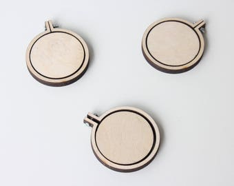 "SET OF THREE (3) Mini Embroidery Hoop Lasercut Frame 1.95""/5CM Mini Frame Embroidery Hoop Tiny Cross Stitch Mini Frame Tiny Pendant"