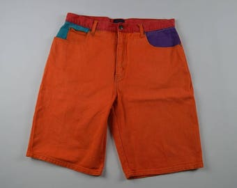 90s Crazy Color Summer Denim Jean Shorts Mens Size 36, Vintage Denim Jean Shorts, Vintage Denim Shorts, Vintage Shorts Orange Cotton Hip Hop