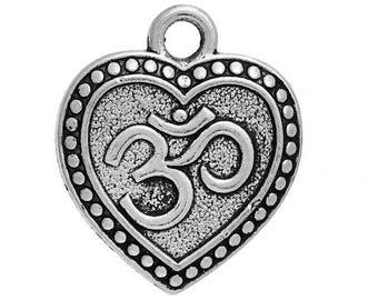 10 pendants in antique silver heart OM.