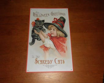 """Metal Sign Retro Halloween Image Scaredy Cats 16"""" x 10"""" Very Good Condition"""