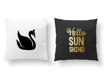 SET of 2 Pillows, Swan Pillow, Hello Sunshine Pillow, Nursery Decor, Throw Pillow, Kids Pillow, Cushion Cover, Gold Decorative Pillow,