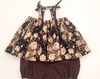 Rosie swing top with brown bloomer / baby swing top/ toddler swing top/ baby clothes/ toddler clothes