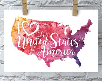 I Heart United States of America Map Art Print, I Love USA Watercolor Home Decor Map Painting, Giclee Map Art, Housewarming or Moving Gift