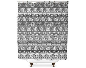 Elephant Tribal pattern shower curtain