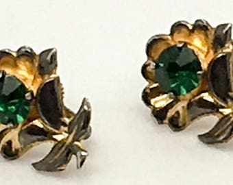 Bond Boyd Gold Vermeil Sterling Silver Screw Back  Earrings Floral Emerald Rhinestones  Leaf Flower Gift For Her Birthday Anniversary
