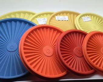 "Vtg Tupperware Servalier Starburst Replacement Lid Instant  Seal Cover Yellow 1205 8 "" Or Yellow 808 6 1/2 "" Or Yellow 812 5 """