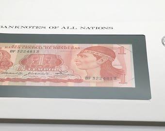 Banknotes Of All Nations Honduras  1980 1 Lempira P 68a GEM UNC  Native American Franklin Mint Paper Money Souvenir Scrapbook Scrapbooking