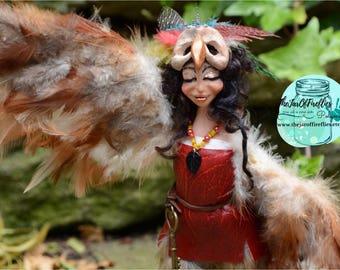 Ooak polymer clay Harpy doll