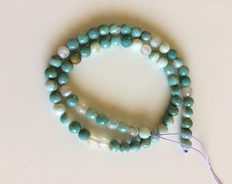 16 inch strand of 5mm faceted amazonite beads -