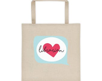 Librarian Heart Talk  |  Big Ol' Canvas Tote Bag | Book Storage Device | Place to put my Knitting Bag