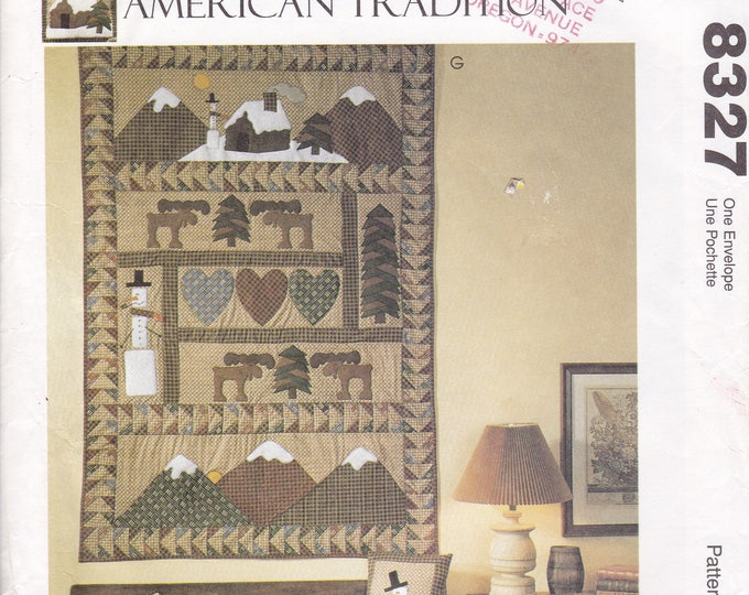 FREE US SHIP McCall's 8327 American Tradition Folk Art Primitive Sewing Pattern Quilt  Cabin Mountains Snowman Moose Pillow Uncut 1996