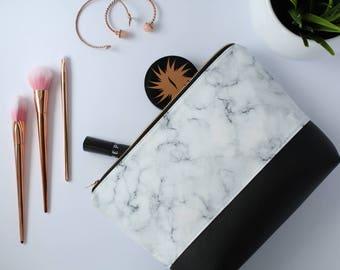 Marble Makeup Bag, Waterproof Cosmetic Bag, White Marble Makeup Bag, Black Cosmetic Bag, White Makeup Bag