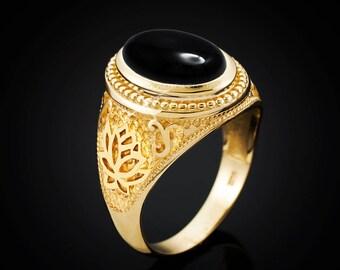 Gold Lotus Band Black Onyx Yoga Statement Ring (yellow, white, rose gold, 10k, 14k)