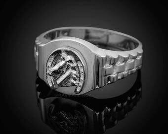 Sterling Silver Lucky Horseshoe Mens Good Luck Ring