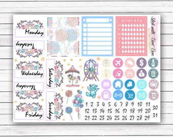 NEW FORMAT || Candy Carnival add-on stickers || Erin Condren planner vertical layout