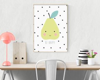 Happy Pear - Nursery Print - Children's Wall Art - Baby Nursery Decor