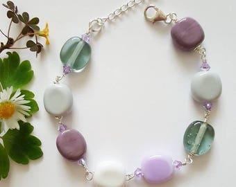 Pastel Bracelet - Sterling Silver Bracelet - Swarovski Crystals - Gifts for Her - Lampwork Glass - Bracelet - UK - Jewelry - Lilac - Grey