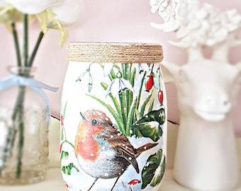 Robin Jar, Decoupage Jar, painted Jar, robin gift, robin home decor, Christmas decor, gift for her, remembrance gift, new home gift,