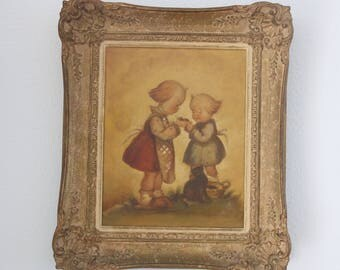 Antique Framed Oil Painting, Hummel Style Painting on Canvas, Ornate Gilded Frame, Original Painting