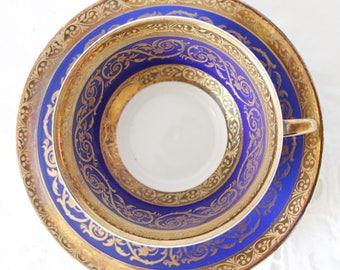 Vintage Bavaria Winterling Demitasse Cup and Saucer, Cobalt Blue/Gold Decor