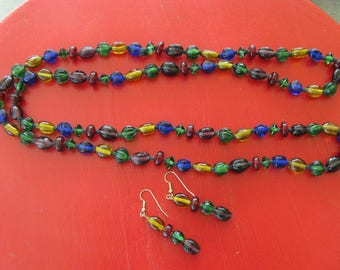 Vintage Glass Beaded Necklace Set ~~ Jewel Tone Glass Bead Necklace ~~  Dazzeling Glass Beaded Necklace Set 20 Inches Long