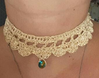 Handmade Gold crochet choker