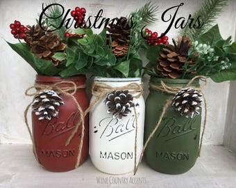 Painted Mason Jars. Christmas Decor. Vase. Home Decor. Holiday Decor. Rustic Decor. Christmas Jars. Gifts.