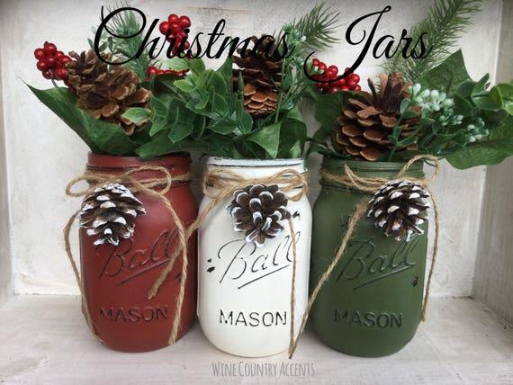 Painted Mason Jars. Christmas Decor. Vase. Home Decor. Holiday