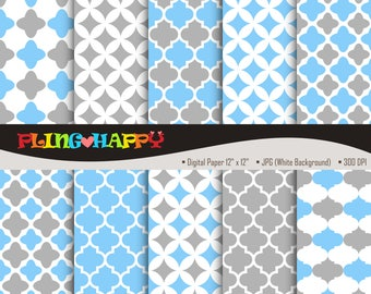 70% OFF Quatrefoil Gray And Light Sky Blue Digital Papers, Quatrefoil Pattern Graphics, Personal & Small Commercial Use, Instant Download